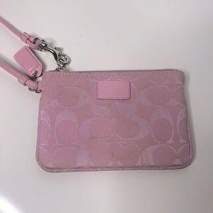 Coach pink monogram wristlet